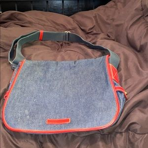 D&B blue Jean crossbody bag with red details